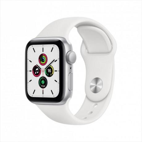 Смарт-часы Apple Watch SE, 44 мм, корпус из алюминия серебристого цвета, спортивный ремешок
