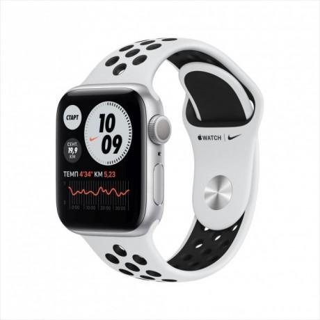 Смарт-часы Apple Watch Nike Series 6, 40 мм, корпус из алюминия серебристого цвета, спортивный ремешок Nike