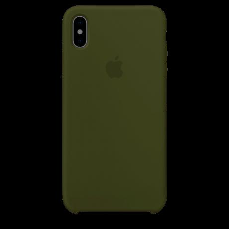 Силиконовый чехол для Apple iPhone X Silicone Case (темно-оливковый)