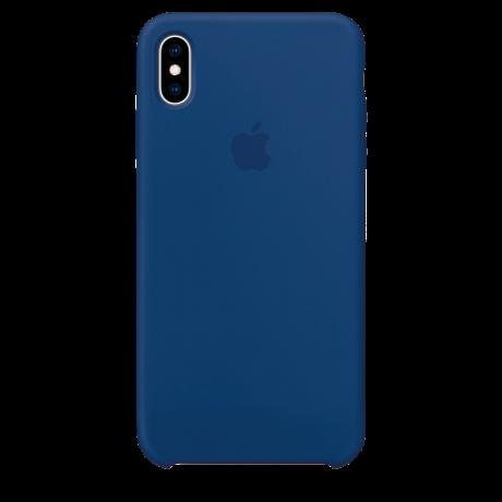 Силиконовый чехол для Apple iPhone XS Silicone Case (мягкий синий)